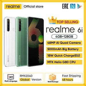 Realme 6i Новая глобальная версия 4 Гб Оперативная память 128 Гб Встроенная память Мобильный телефон MTK Helio G80 5000 мА/ч, Батарея 6,5