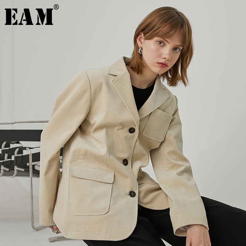 [EAM]  Women Apricot  Pocket Split Corduroy Blazer New Lapel Long Sleeve Loose Fit  Jacket Fashion Tide Spring Autumn 2020 1R762