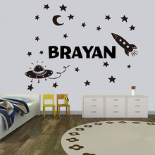 Space Wall sticker Outer space wall decals decoration Rocket Ship Decal Vinyl Custom name Decal Kids Bedroom decor HY749 custom name wall sticker never grow up vinyl cartoon wall art decals pirates ship decal hook kids wall decal bedroom decor hy750