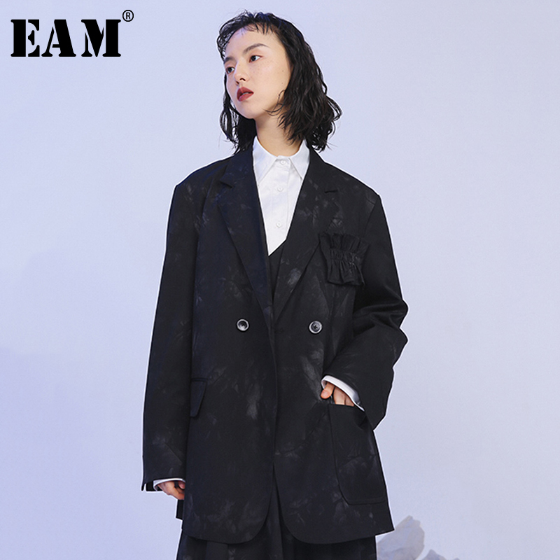 [EAM] Loose Fit Pattern Print Split Big Size Temperament Jacket New Lapel Long Sleeve Women Coat Fashion Tide Spring 2020 1N395