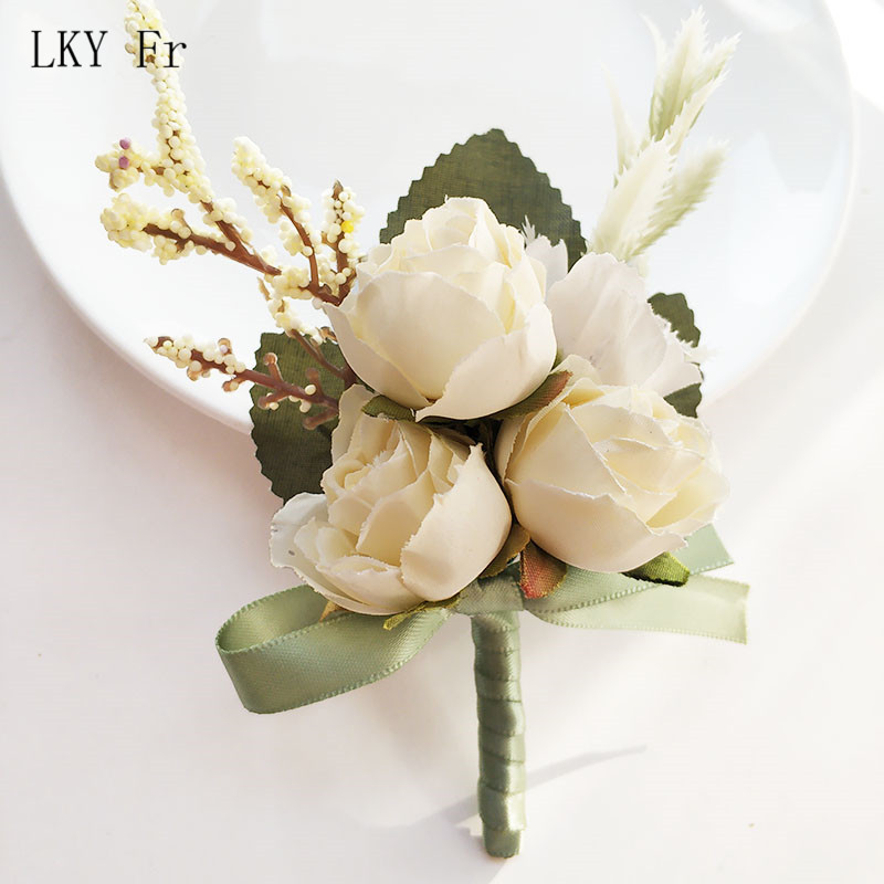 LKY Fr Boutonniere Pins Rose Wedding Corsage Flower Bracelet Bridesmaid Groomsmen Boutonnieres Buttonhole Men Jacket Accessories