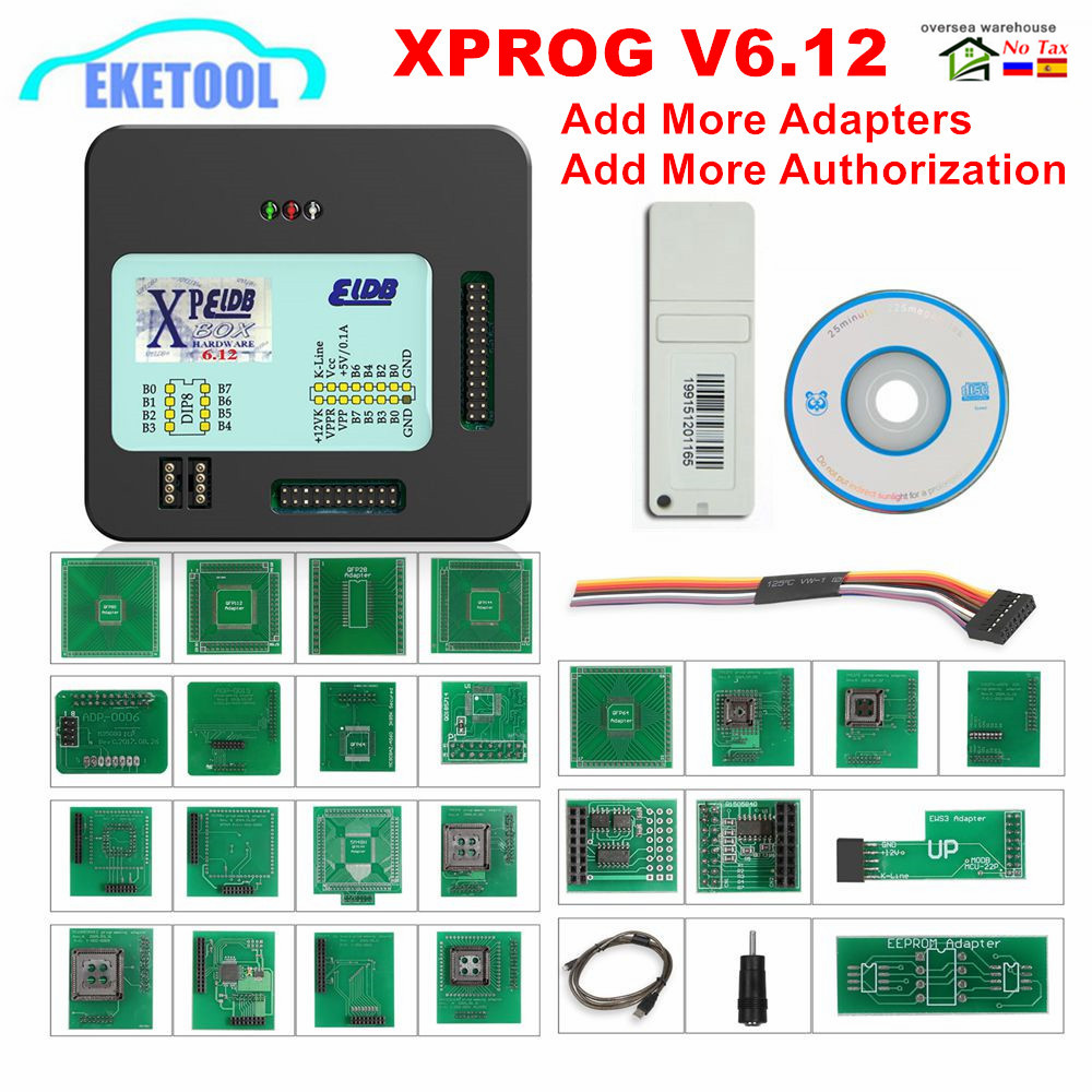 Ecu-Programmer-Tool XPROG Metal-Box Full-Adapters V6.12 New V5.55 Add Authorization V5.86 title=