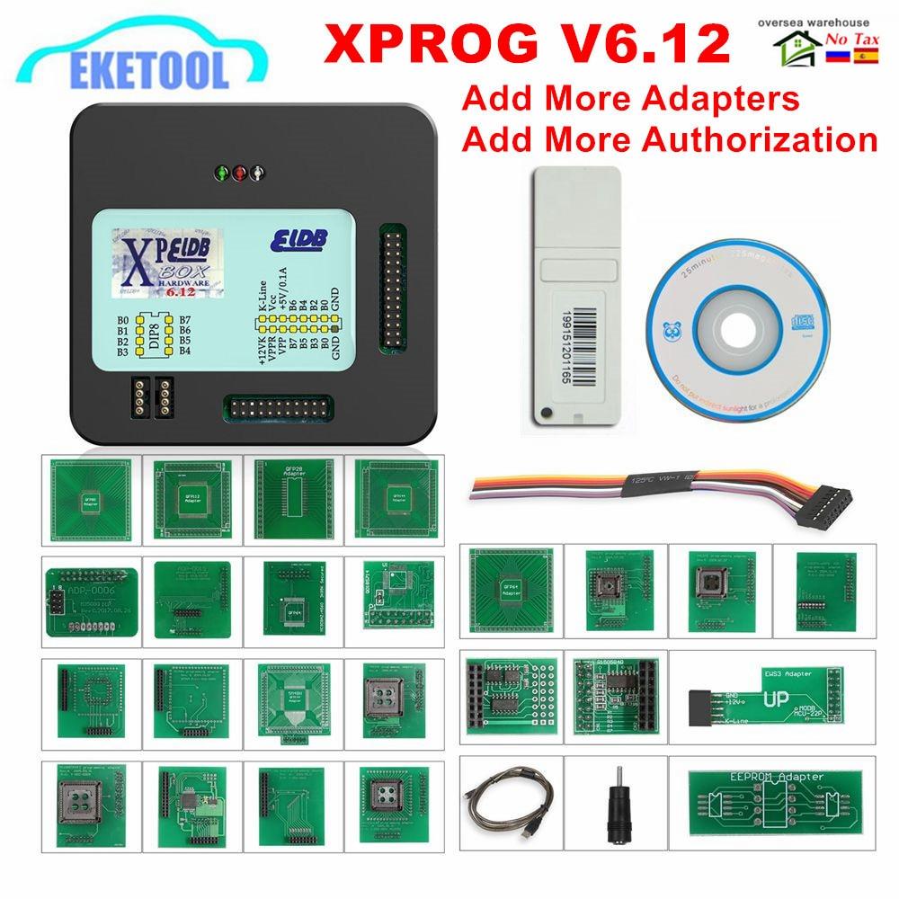 XPROG V6.12 ajouter une nouvelle autorisation V5.86 V5.55 V5.84 X-PROG M boîte métallique XPROG-M ECU programmeur outil X Prog M V6.12 adaptateurs complets