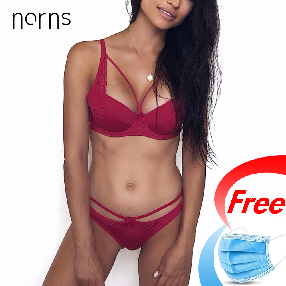 Norns Women's Sexy Underwear Set Lace Lingerie Set Push Up Plus Size Bra Set Of Linen Red Lingerie Bra And Panty Set Bralette