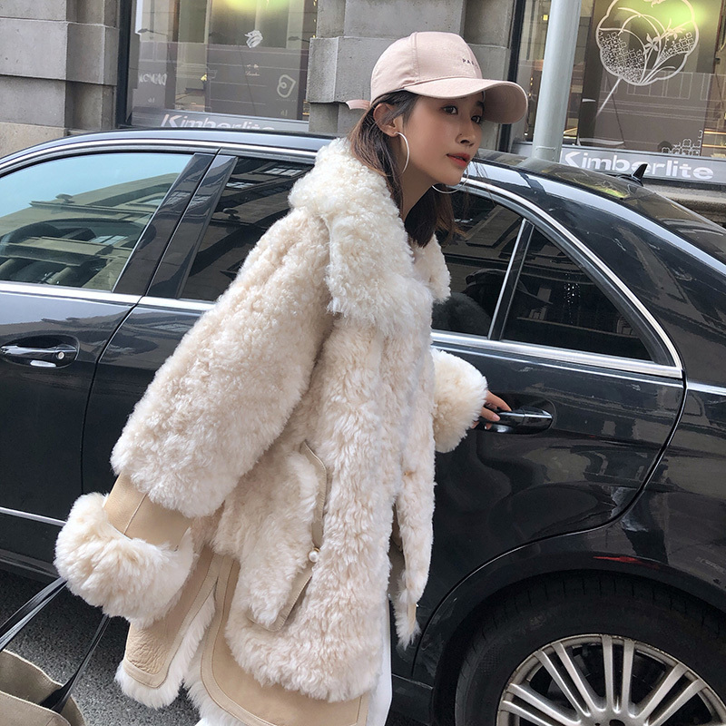 Natural Real Fur Coat Women Sheep Shearing Winter Coat Women Clothes 2020 Korean Genuine Leather 100% Wool Jacket Ys6010 YY1915