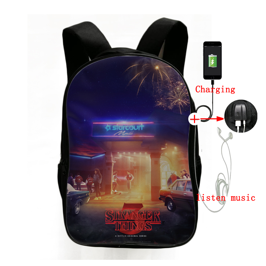 Stranger Things Season 3 USB Charging Backpack Laptop Backpack Children Boys Girls Daily Bags Fashion Backpack Hiking Backpack in Backpacks from Luggage Bags