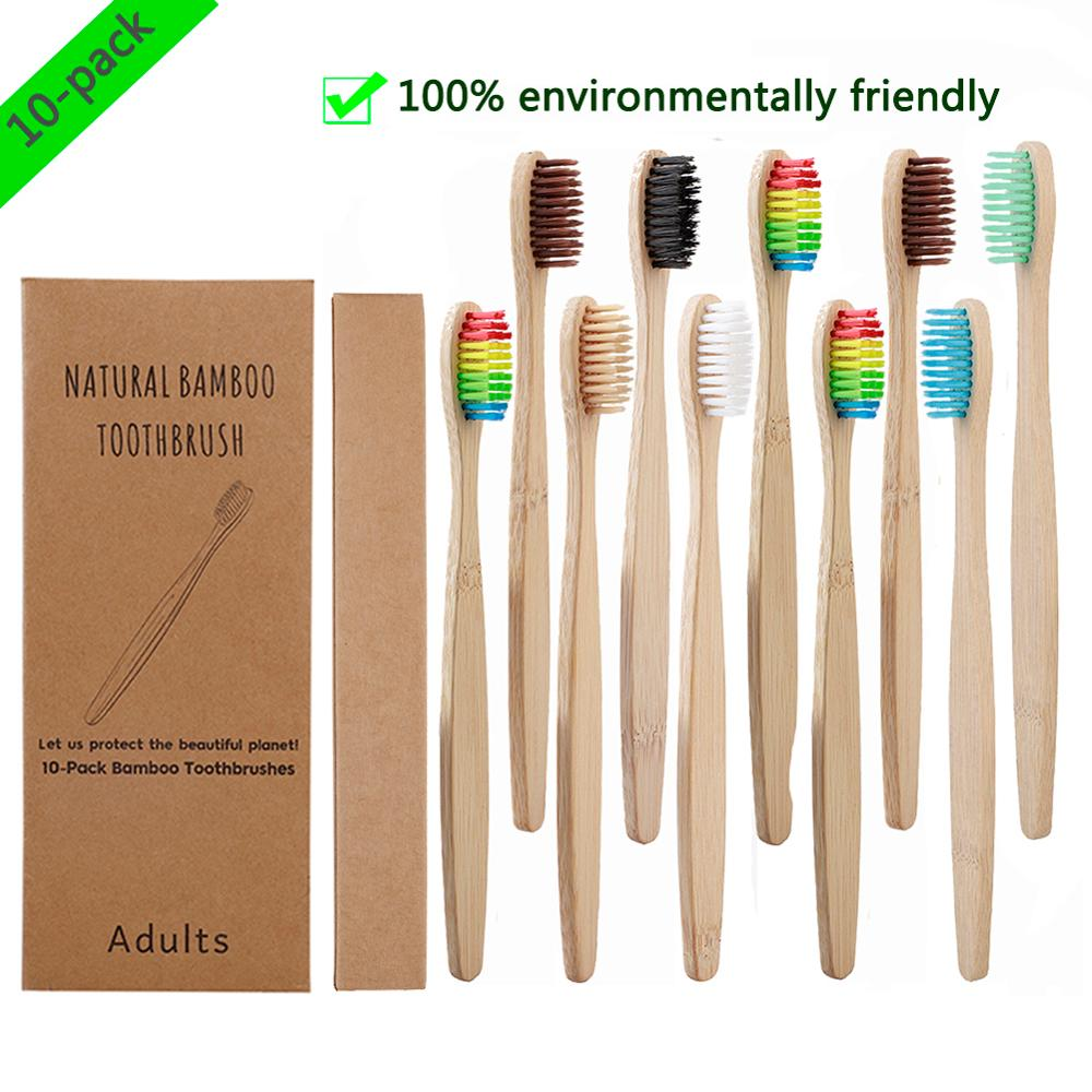 10pcs / Set Oral Cleaning Toothbrush Bamboo Toothbrush Bamboo Soft Hair Charcoal  Wood Handle Toothbrush Dental Care Tools
