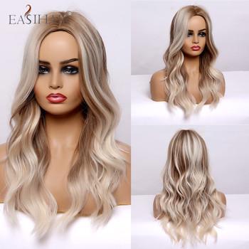 EASIHAIR blond długie faliste peruki syntetyczne z brązowymi podkreśla Cosplay peruki naturalne włosy peruki peruki termoodporne dla kobiet Afro tanie i dobre opinie Wysokiej Temperatury Włókna long Falista 1 sztuka tylko Średnia wielkość