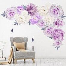 Настенные наклейки с пионами, розами, цветами, художественные наклейки для детской комнаты, домашний декор, подарок, ПВХ наклейки на стену, фиолетовый пион, домашний декор
