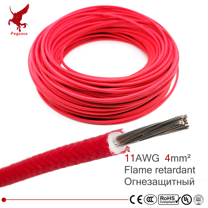 11AWG <font><b>4</b></font> square millimeter flame retardant power cable <font><b>wire</b></font> High temperature resistance <font><b>Silicone</b></font> Rubber Copper <font><b>core</b></font> glass fiber image