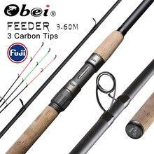 Obei alimentador vara de pesca fiação haste de viagem 3.6m vara de pesca fuji carpa alimentador 40 200g pólo