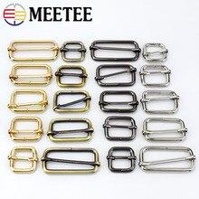 Meetee Metal Slides Tri-glides Roller Pin Buckles Handbag Strap Slider Adjuster Belt For Bag DIY Garment Accessories