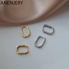 ANENJERY 925 srebro w kształcie litery U owalne kolczyki Hoop dla kobiet osobowość modne kolczyki biżuteria Retro S-E1082