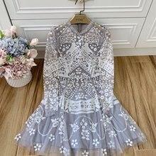 Новое дамское модное платье с длинными рукавами и круглым вырезом, расшитое пайетками 1119
