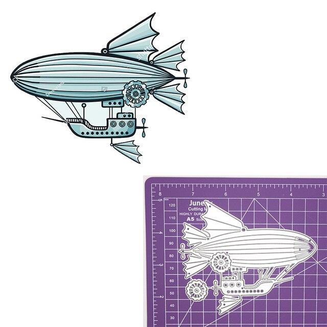 Steampunk sterowiec gorący balon dmuchany biegów metalu wykrojniki statek wzornik dla DIY Scrapbooking szablony do wytłaczania