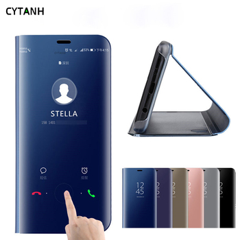 Mirror Flip Case For huawei y6 prime 2018 y5 y9 2019 y7 pro stand leather Cover on huawey y 5 6 7 9 5y 6y 7y 9y Phone view coque image