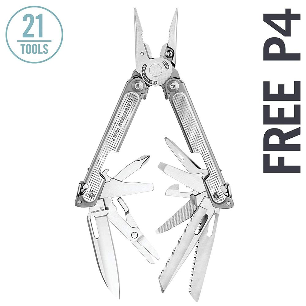 LEATHERMAN - FREE P4 Multitool With Magnetic Locking, One Hand Accessible Tools And Premium Nylon Sheath And Pocket Clip