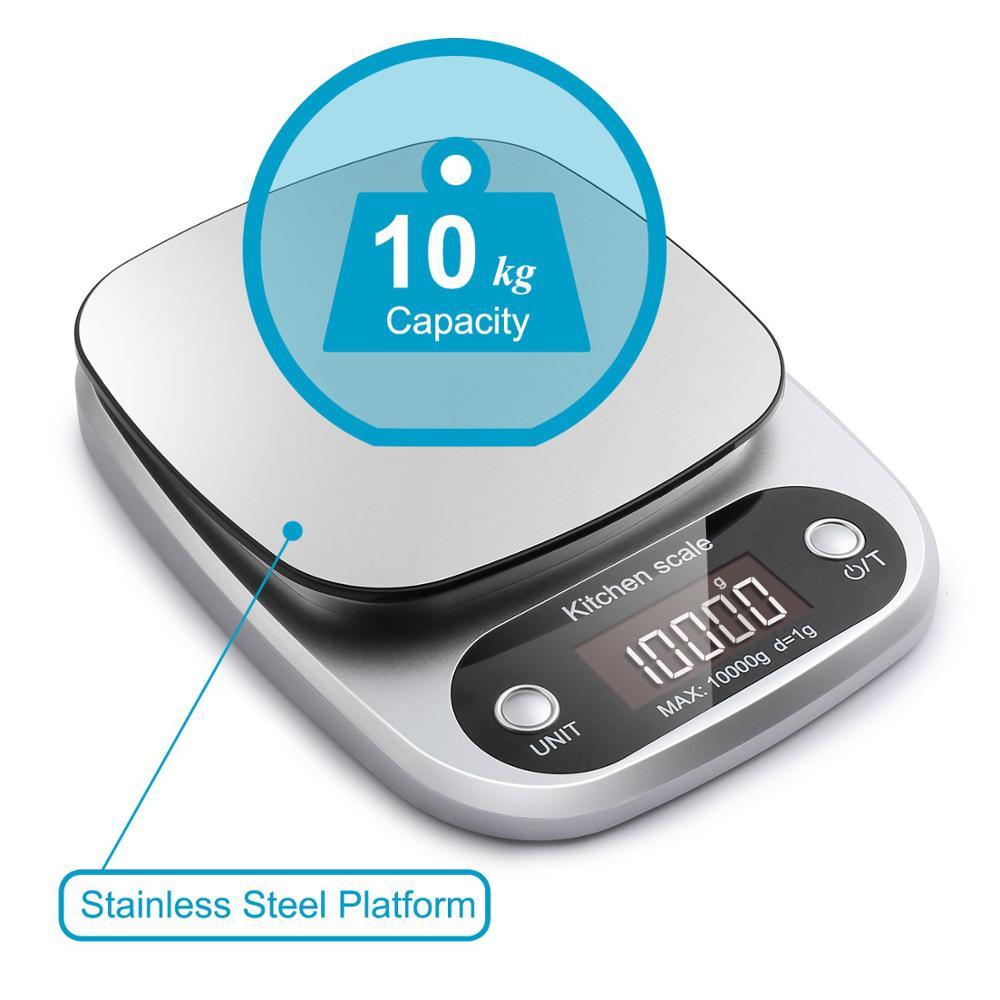 Цифровые кухонные весы, многофункциональный прибор для измерения массы, 10 кг, для приготовления пищи, с ЖК-дисплеем, серебристые-1