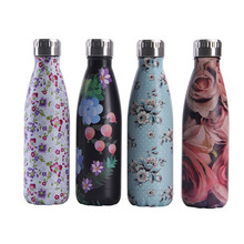 Floral Water Bottle 500ml Red Rose Stainless Steel Water+Bottles Insulated Hot Cold Cup Beer Coffee Drink Thermos Flask