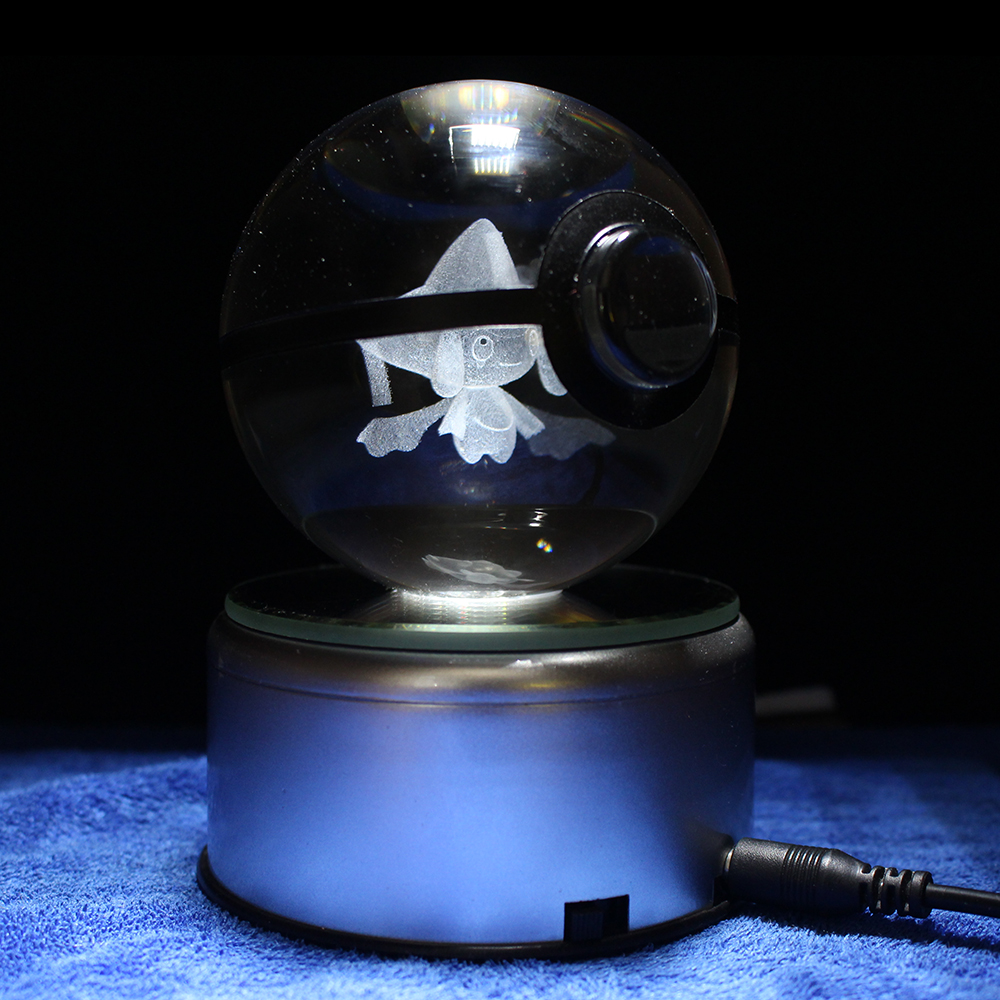 Dropping Nice 3D Pokemon Go Crystal Ball Engraving Jirachi Sculpture Games Fans Souvenirs