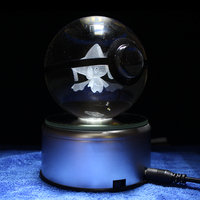 Dropping Nice 3D Pokemon Go Crystal Ball Engraving Jirachi Sculpture Games Fans Souvenirs|Statues & Sculptures|   -