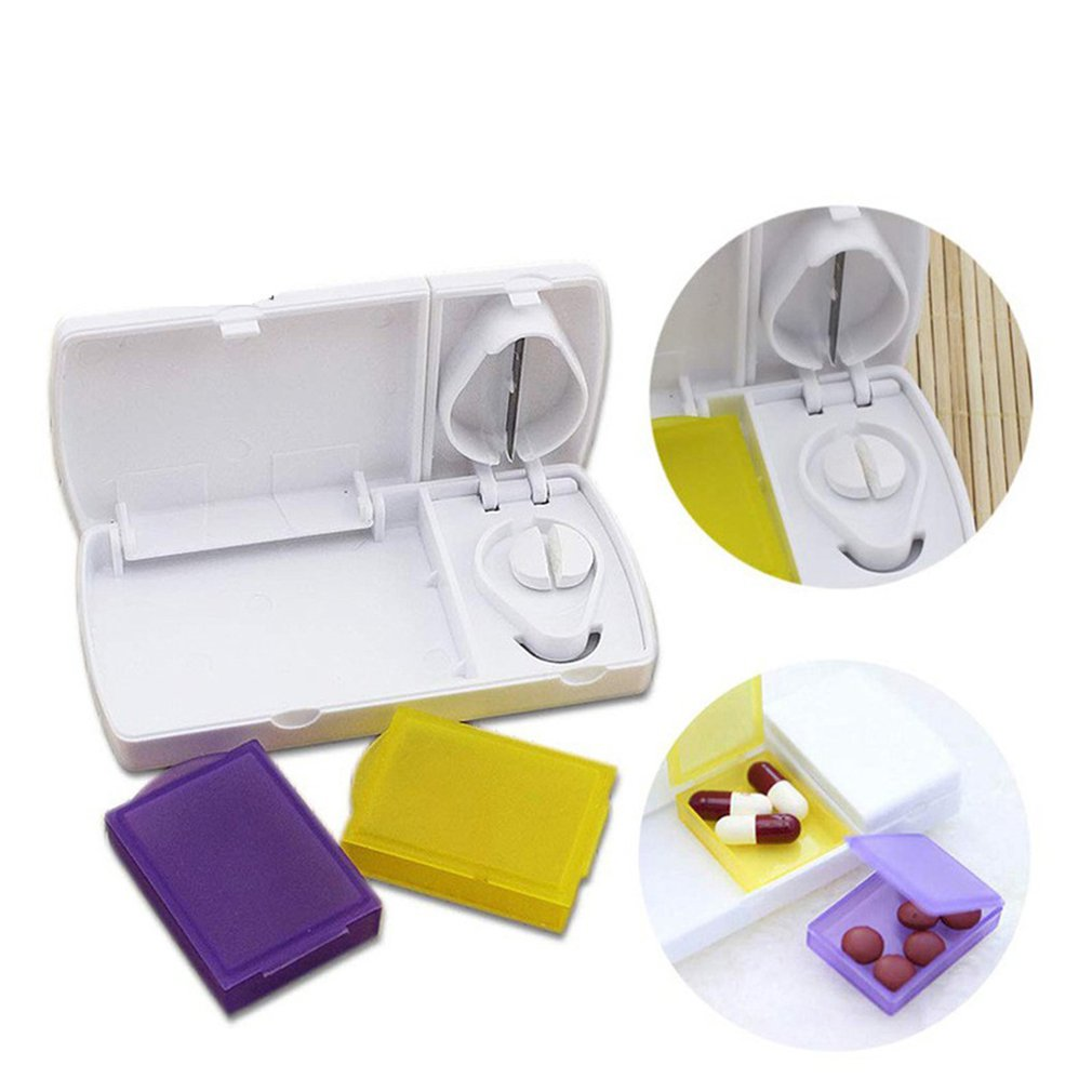 Portable Pill Box With Cutting Knife Cutting Medicine Drug Separation Box Medical Environmental Protection Plastic Box