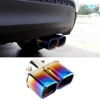 Carro Universal 63mm Traseira Dupla Saída de Escape Tubo de Aço Inoxidável Quadrado Tubos de Cauda Silenciador Garganta Assado Azul