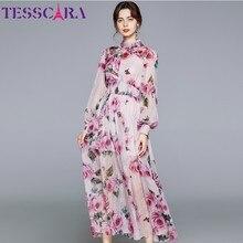 Tesscara mulheres vestido de luxo com miçangas festa de casamento alta qualidade chiffon robe femme designer estilo boêmio floral vestidos