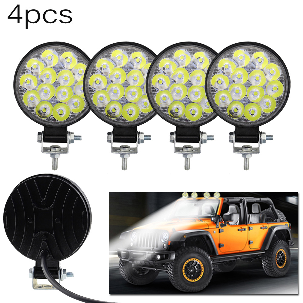 4pcs Car Truck Round Work Lights 14-LED Light 12V 24V Spot Bulb Driving Lamp For Off-road ATV Work Lights IP67