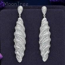 MoonTree 77mm lüks su damlası tam mikro açacağı kübik zirkon gümüş renk Dubai düğün bakır takı Dangle küpe Pendientes