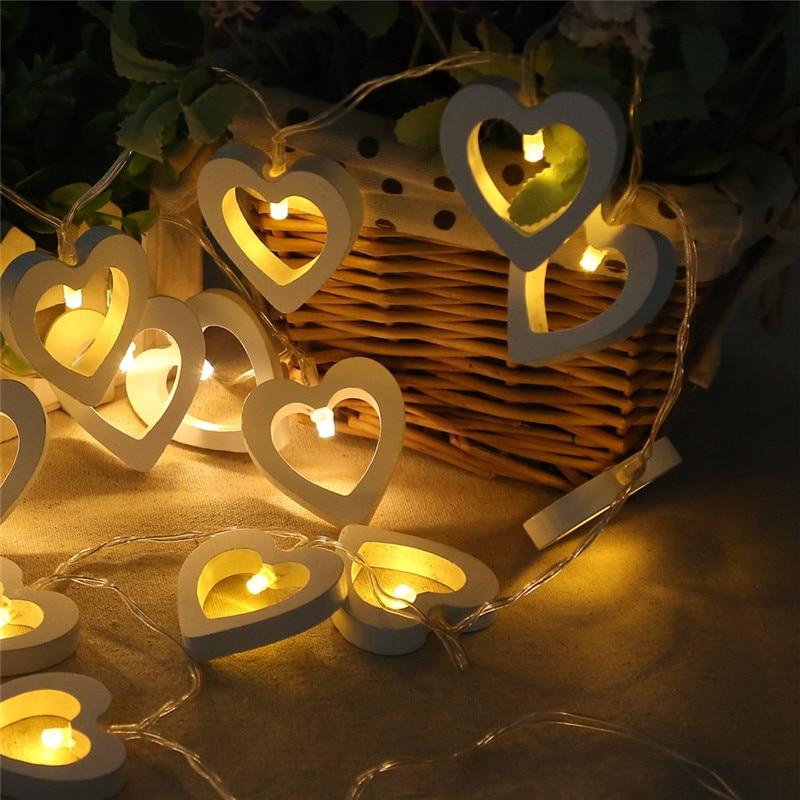 Night Lamp 10LED Romantic Wooden Heart String Light LED Garland Party Birthday Wedding Valentine Ornament Home Christmas Decor