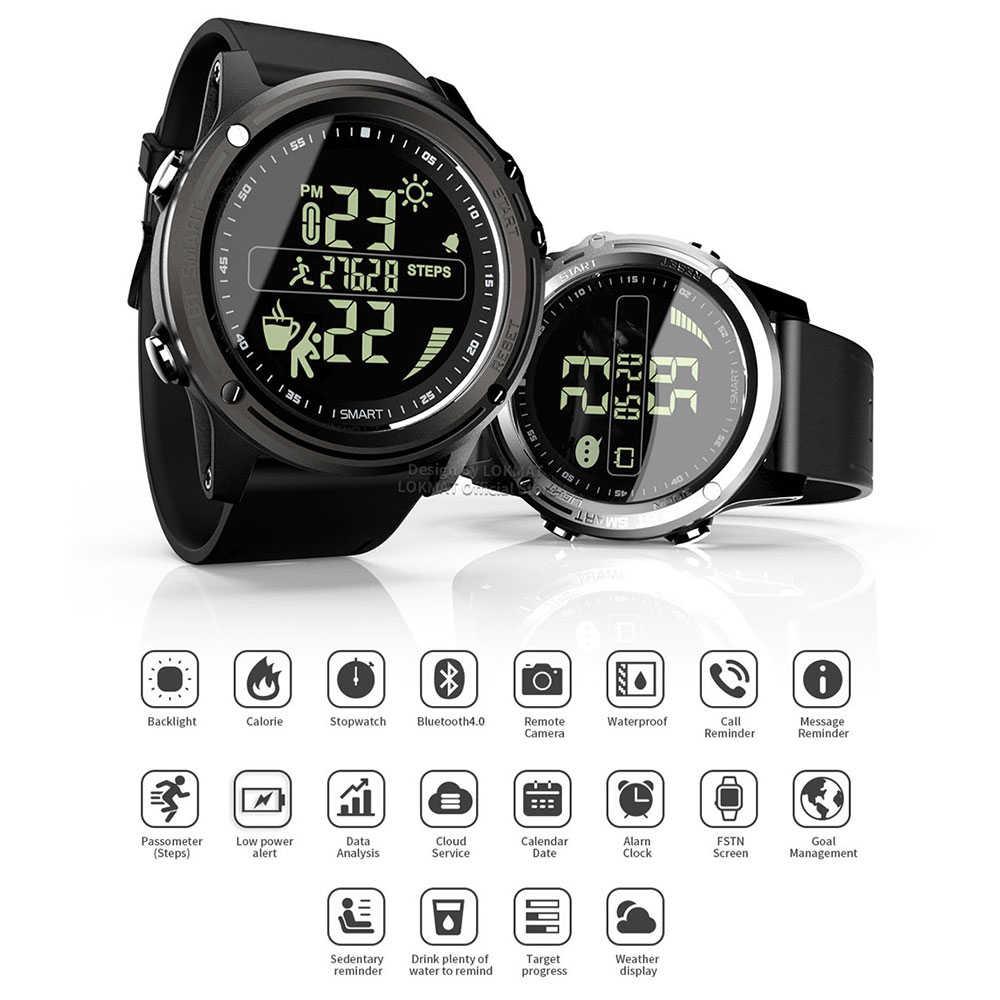 LOKMAT Bluetooth SmartWatch ספורט מד צעדים 5ATM עמיד למים בזמן אמת מזג אוויר דיגיטלי שעון חכם שעון גברים עבור IOS ואנדרואיד