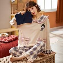 Осенние пижамы женские и мужские пижамный комплект для пар пижама