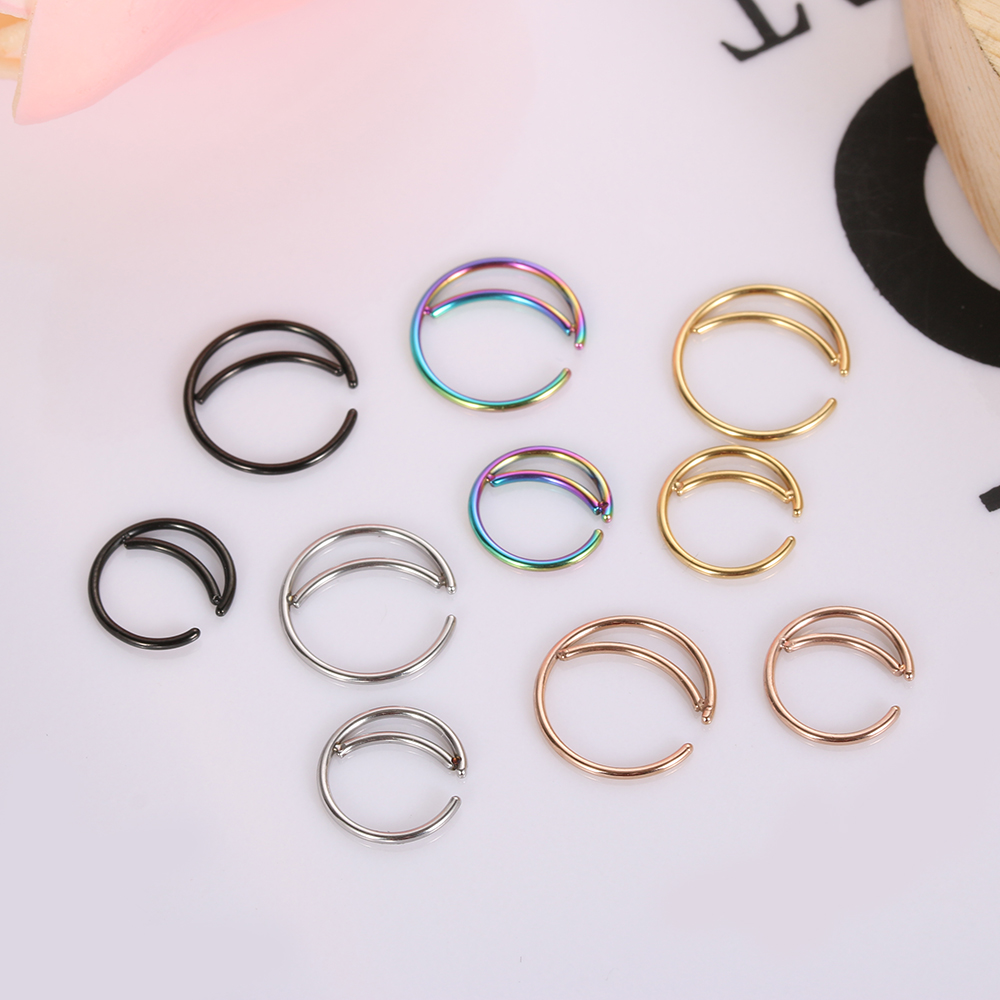 2pcs Unisex Tiny Moon Nose Ring Hoop Indian Nose Ring Septum Ring