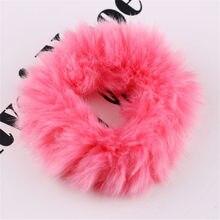 Miękkie puszyste Faux futra Scrunchie Fuzzy szlachetne gumki do włosów słodkie elastyczne opaski do włosów różowe włosy opaski dla dziewczynek moda akcesoria do włosów