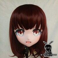 (Rabbit 62) Full Head Crossdress Girl BJD Doll Mask COS Cartoon Anime Realistic Silicone Menhera Chan Cosplay Mask Kigurumi Crossdresser