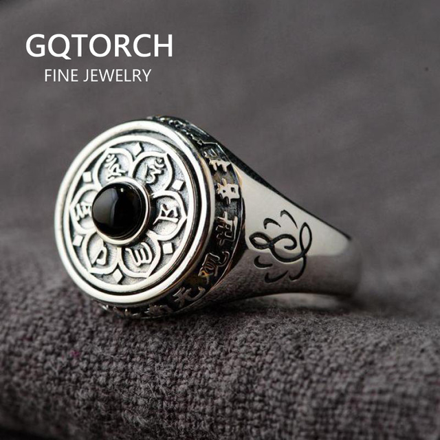 925 Sterling Silver Lotus Rings For Women And Men Rotatable Natural Stone Inlaid Six Words Mantra Rings Buddhist Jewelry