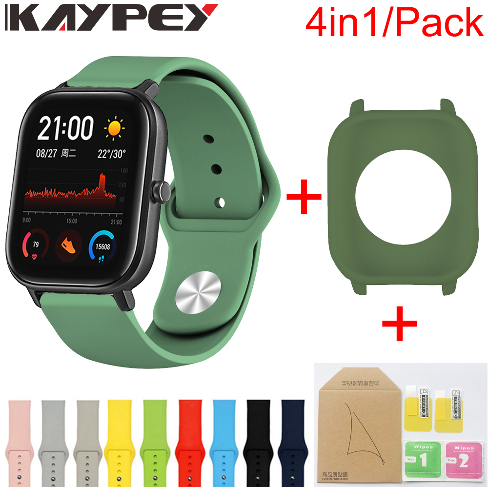 4in1/Pack Silicone Soft Strap For Xiaomi Huami Amazfit GTS Watch Wrist Strap Bracelet Amazfit GTS Case Cover Screen Protector