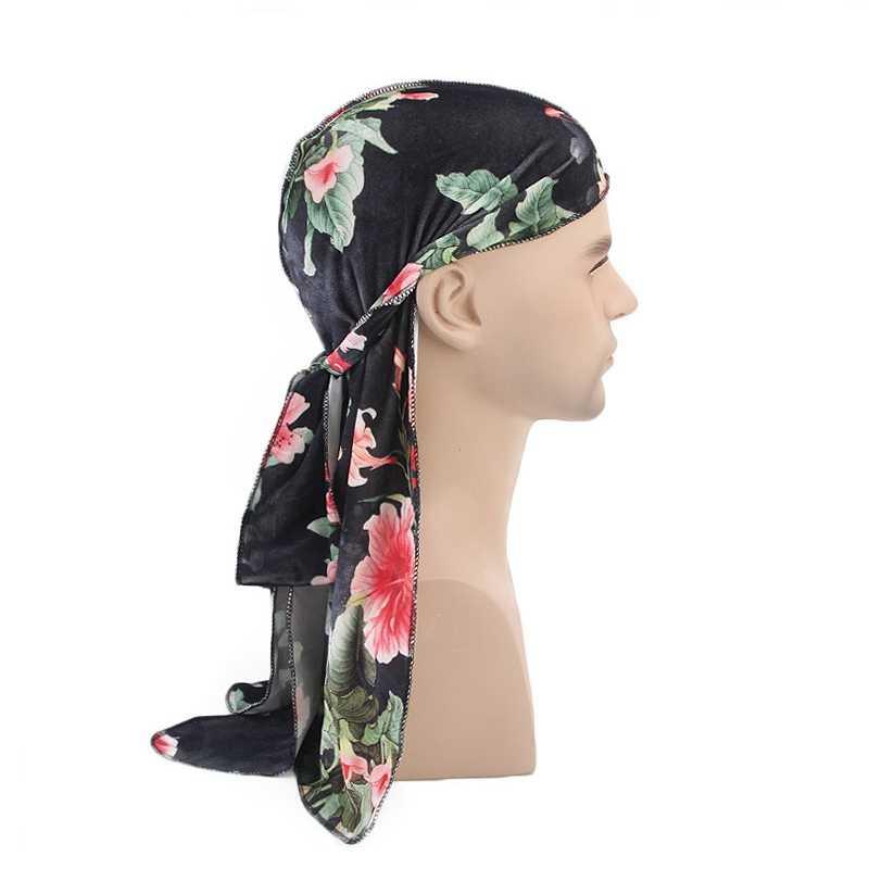 Plaj kap Doo paçavra çiçek uzun kuyruklu kadife türban kap kafa şal Bandana şapkalar giyim aksesuarları