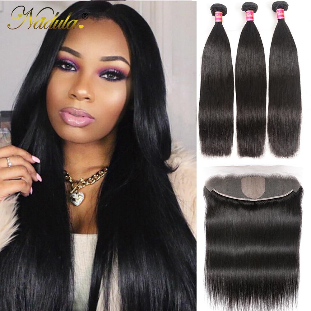 NADULA HAIR 13*4 Lace Closure Frontal Straight Hair Bundles With Frontal  3 Bundles with Closure 4x4 Silk Base 1
