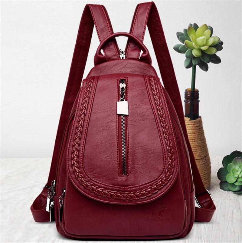 H138341624a9c4904b8273b7d3dbf6585h Women Leather Backpacks Zipper Female Chest Bag Sac a Dos Travel Back Pack Ladies Bagpack Mochilas School Bags For Teenage Girls