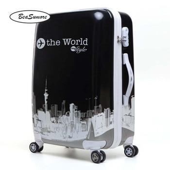 BeaSumore Cute Korean version Rolling Luggage Spinner 26 inch women Suitcase Wheels Students Password Travel Bag Cabin Trolley