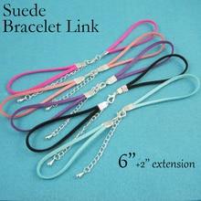 100   6 Suede Bracelet Link, Leatherette Bracelet Connector , Colorful Link Bracelet, Handmade Cord Bracelet Link + Extension