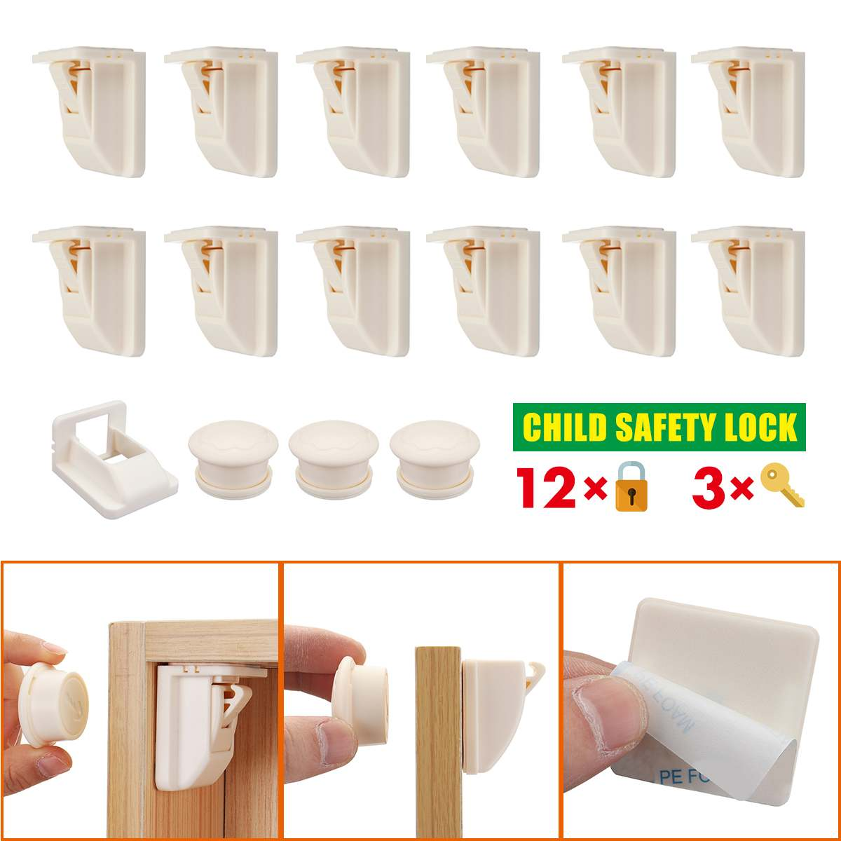 12+3pcs/set  Magnetic Child Lock Baby Safety Baby Protection Cabinet Door Lock Invisible Locks Kids Security Drawer Locker +Keys
