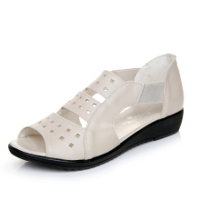 WHOHOLL Summer Women Shoes Woman Genuine Leather Flat Sandals Casual Open Toe