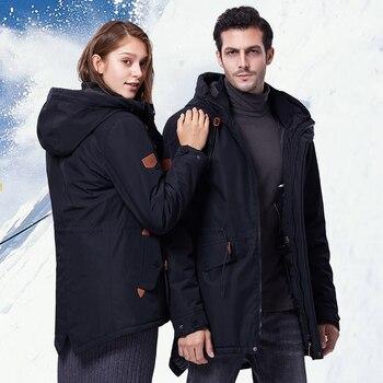 2020 Winter Waterproof Ski Jacket For Men Women Thick USB Heating Cotton Coat Outdoor Windbreaker Snowboard Jacket Plus Size