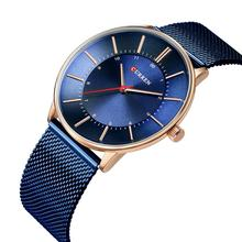CURREN Luxury Blue Stainless Steel WristWatch Business Design Quartz Watch Waterproof Top Brand Hardlex Mirror Erkek Kol Saati ik colouring luxury brand mechanical hand wind watches nail scale hollow hardlex full steel business mens watch erkek kol saati