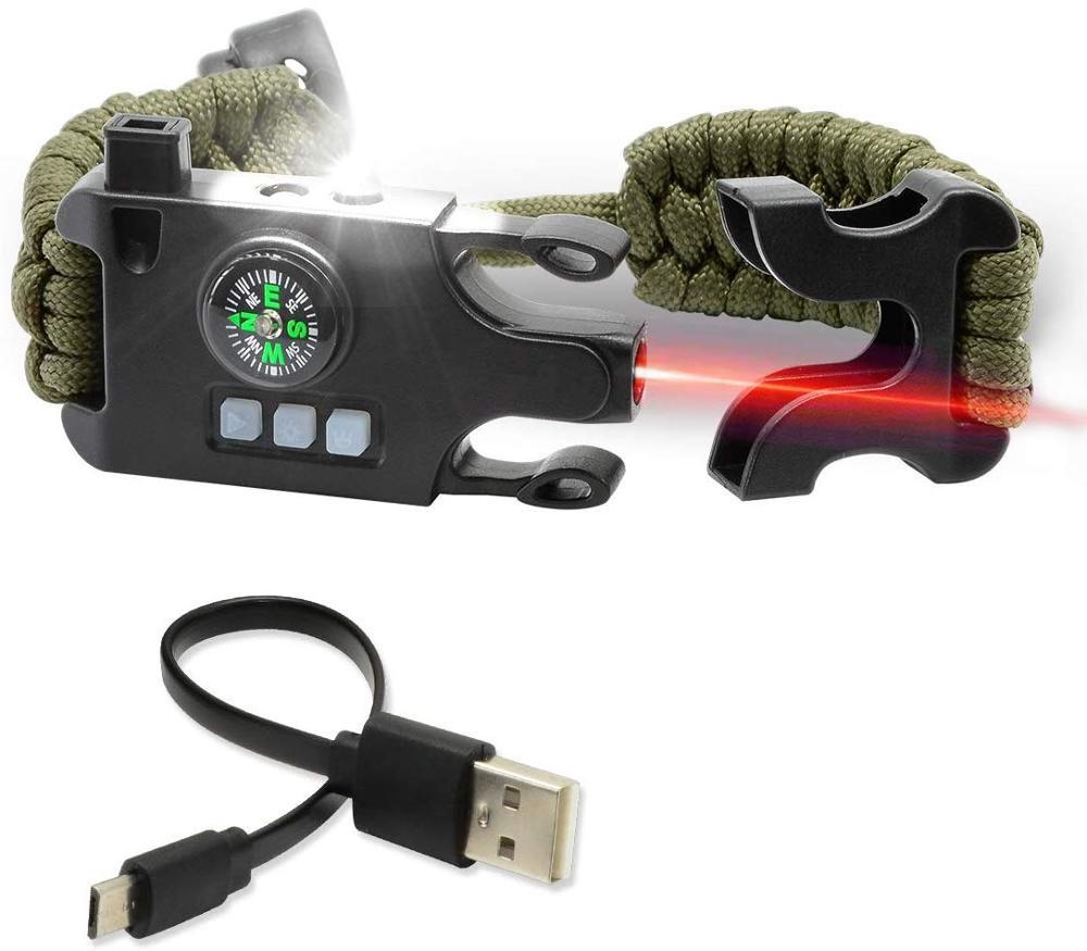 Outdoor Survival Paracord Wristband Whistle Compass LED Flashlight Bracelet