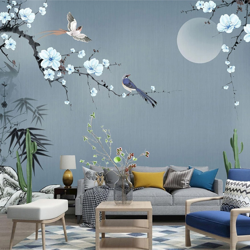 3D Wallpaper Chinese Style Hand-painted Stone Bamboo Leaves Plum Blossoms Photo Wall Murals Living Room TV Sofa Bedroom Frescoes