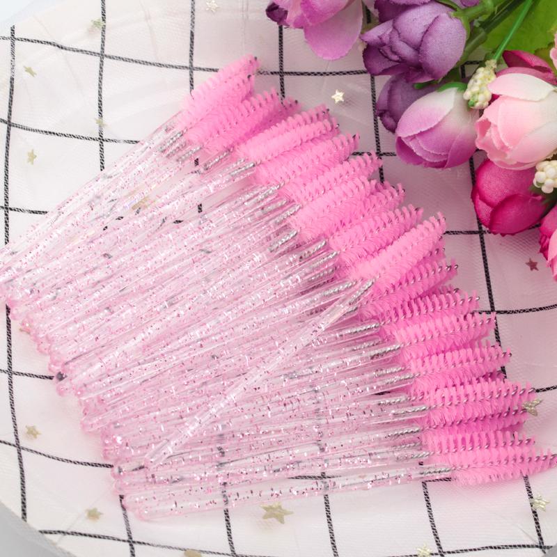 MEISHENJIE Good Quality Disposable 5 50 Pcs Crystal Eyelash Makeup Brushes Diamond Handle Mascara Wands Eyelash Extension Tools